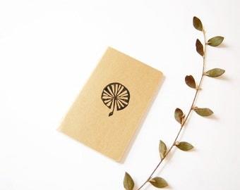 Notebook / pocket notebook / printed by hand / black ink / kraft cover / dandelion pattern / original design / eco-ink / travel notebook