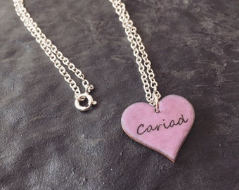 Pink Cariad Enamel Heart Necklace
