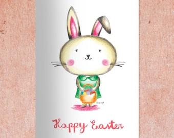 Easter card printable, DIY Easter card, Easter bunny printable, Easter decor, INSTANT DOWNLOAD