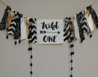 Wild One Birthday Banner Aztec Tribal Decor Boys Nursery Photo Prop  Backdrop Cake Smash High Chair