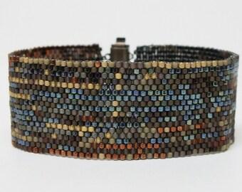Blue Brown Gold Peyote Beadwoven Abstract Art Bracelet Contemporary Modern OOAK Jewelry