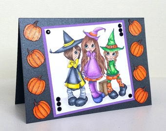 Handmade Witches & Pumpkins Halloween Card