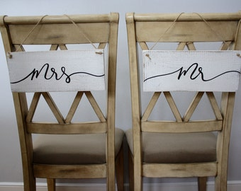 Mr. and Mrs. Chair Signs - wedding signs, rustic wedding signs, chair signs, mr and mrs, custom wood sign, rustic wood sign, rustic wedding