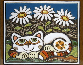 Ceramic Wall Picture Cat and Daisies