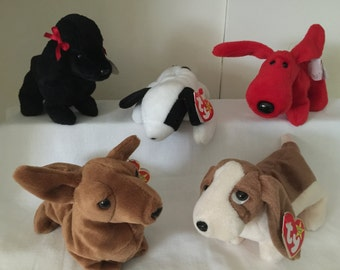 ty Beanie original Babies Group of 5 Dogs