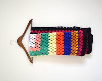 Vintage small black and rainbow squares afghan / knit throw / cozy retro blanket