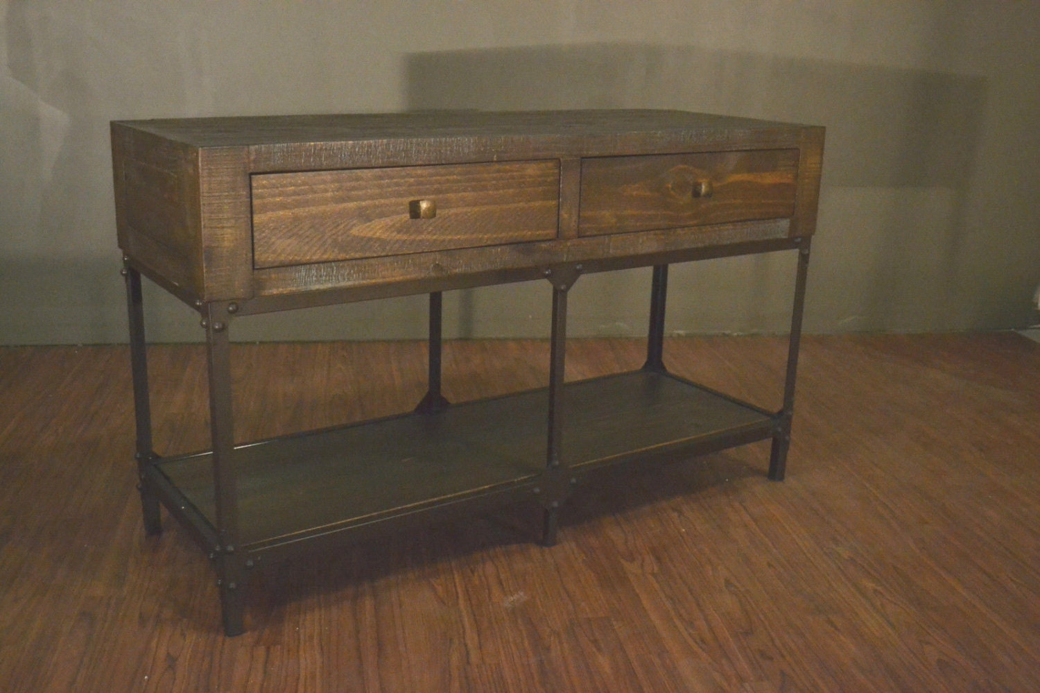 Industrial wood and metal two drawer console table rustic for Sofa table metal