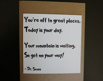 Graduation Dr Seuss The places you'll go Congrats Card