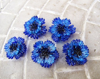 Lampwork beads Cornflowers Lampwork flowers Blue flowers Cornflowers lampwork Lampwork beads Glass flowers Kits for creativity