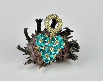 Charm heart pendant - beaded heart pendant, swarovski pendant