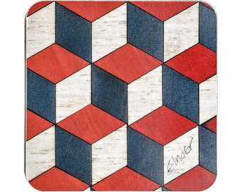 6 Coasters Red Geometric coasters Retro coasters Art Deco coasters Coaster Square Coaster Escher Christmas Gift E Inder Housewarming Gift