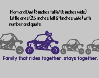 RZR Family Car Decal with Number andQuote -Stick Family Car Decal- Read listing before ordering
