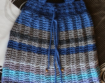 Dress for 2 years old(approximate)  girl in shades of blue and gray tones ,handmade with two needles and crochet