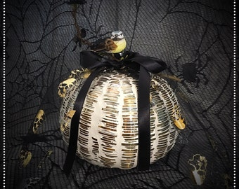 Hand Blown Glass Decorative Pumpkin
