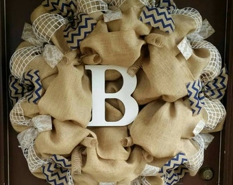 Large Monogram Initial Burlap Wreath