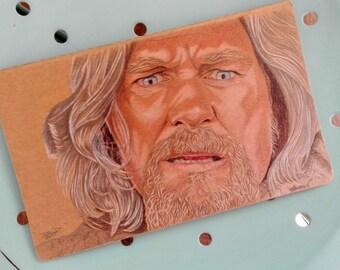 Original Hand painted Moleskine, Fan Art Illustration Big Lebowsky, Jeff Bridges, Illustrated cover Original, line pages, Pocket Journal