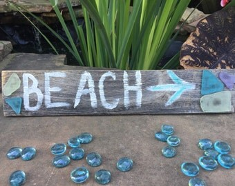 Handpainted Barnwood BEACH Sign with seaglass