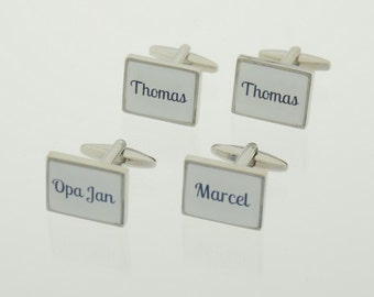 Unique personalized cufflinks with own name white/blue-gift/gift man