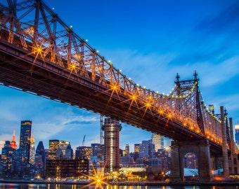 Queensboro Bridge, fine art print, nyc, long exposure, night shot, New York, Queensboro Bridge photo, wall art