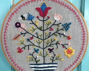 "8"" Hoop Art Hand Embroidered Tree of Life"
