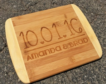 Date and Name ,Engraved Cutting Board,Personalized Cutting Board,Shower Gift,Wedding Gift,Anniversary Gifts,Housewarming Gift,Laser Engraved