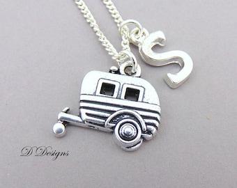 Caravan Necklace, Caravan Pendant, Camping Necklace, Travellers Necklace, Travellers Jewellery, Personalised Caravan Necklace, Travel Gifts