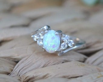 White Opal Ring Sterling Silver Cubic Zirconia