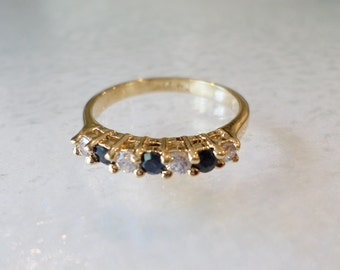 Vintage Fashion Gold Tone, Made in Thailand, Blue and Clear Rhinestones Ring, Size 6.5.