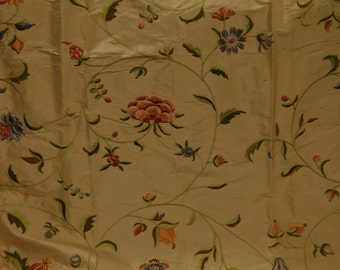 SCHUMACHER COLETTE EMBROIDERED Floral Silk Fabric 5 Yards Rose Gold