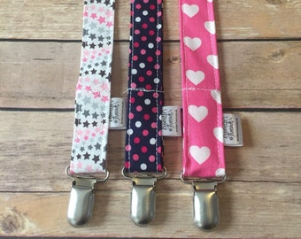 Set of 3 girl pacifier clips, paci clip, binky clip, teether clip, paci holder
