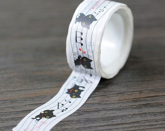 Musical Kutusitanyanko Washi Tape / Cute Cat Washi Tape / Kawaii Black Cat Washi Tape / Cat Washi Tape / Cute Masking Tape / Kawaii Tape
