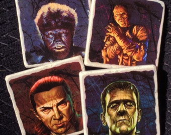 Classic Movie Monsters Halloween Coasters, Set of 4, Frankenstein, Dracula, Wolfman, The Mummy