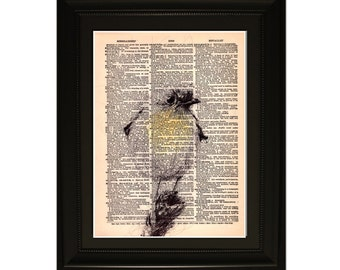 """Spring''.Dictionary Art Print. Vintage Upcycled Antique Book Page. Fits 8""""x10"""" frame"""