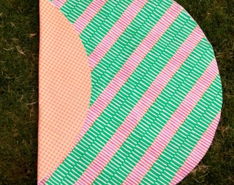 Picnic Play Mat - Orange Gingham & Green/pink stripe