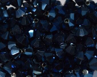 Crystal Metallic Blue 2x Swarovski Beads 4mm, 50 Beads, 100 Beads