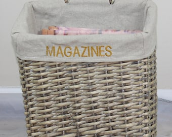 Woven Magazine Basket with Lining