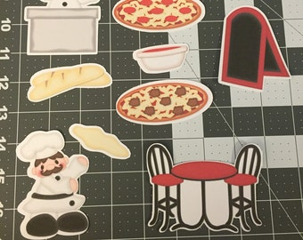 Scrapbooking Die Cuts- Pizzeria- Pizza- 9 piece set. Sizes can be adjusted upon request.