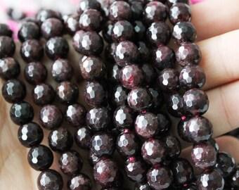 8mm Garnet, Faceted Garnet, Round Beads, Dark Red Garnet, Gemstone Beads, Full Strand, Boho Beads,
