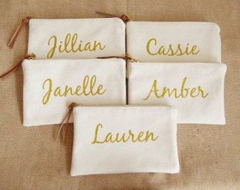 Monogram Bags canvas,Bridesmaid gift,Glitter gold,personalized Makeup Bags,Cosmetic Bags,Clutches,mothers day gift,gift for women