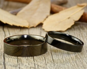 His and Her Promise Rings - Personalized Black Wedding Titanium Rings Set
