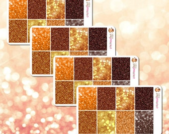 Save! Set of 4 sheets of October / Orange & Brown Glitter / Bokeh Full Box Planner Stickers (Erin Condren Life Planner Monthly Colors)