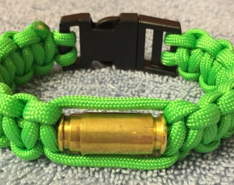 Paracord Bracelet with Bullet Casings - Lime Green