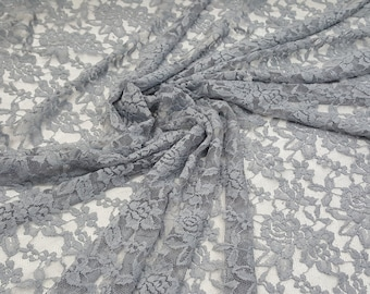 4 Way Stretch Lace Gray / by the yard