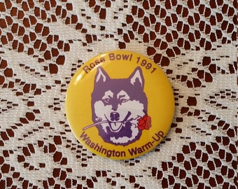 Vintage Rose Bowl 1991 Washington Huskies Warm-Up Pinback Button 3 Inches Round