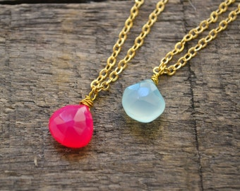 Aqua Chalcedony necklace,Hot Pink Chalcedony necklace,Crystal necklace, Gemstone necklace,Dainty necklace,Necklaces.