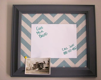 Framed Fabric Covered Bulletin Board with Dry Erase Board