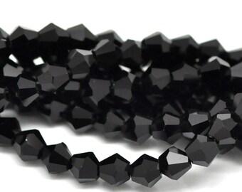 50 Jet Black Crystal Bicone Beads (6mm x 6mm)