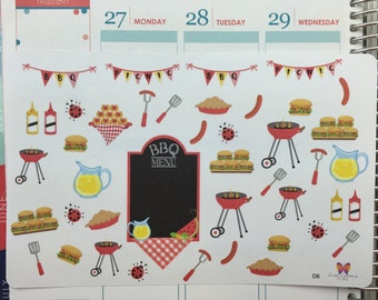 BBQ Grill Cookout | Planner Stickers | Grilling | Picnic | July 4th | Memorial Day | Summer Camping| Happy Planner | D6