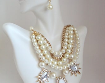 Pearl and Crystal, Statement Ivory Pearl Necklace, Wedding Necklace, Bib Collar Cream Pearl Necklace
