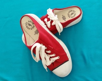 Ralph Lauren Polo Red Canvas Slip On Running Shoes Size 8.5